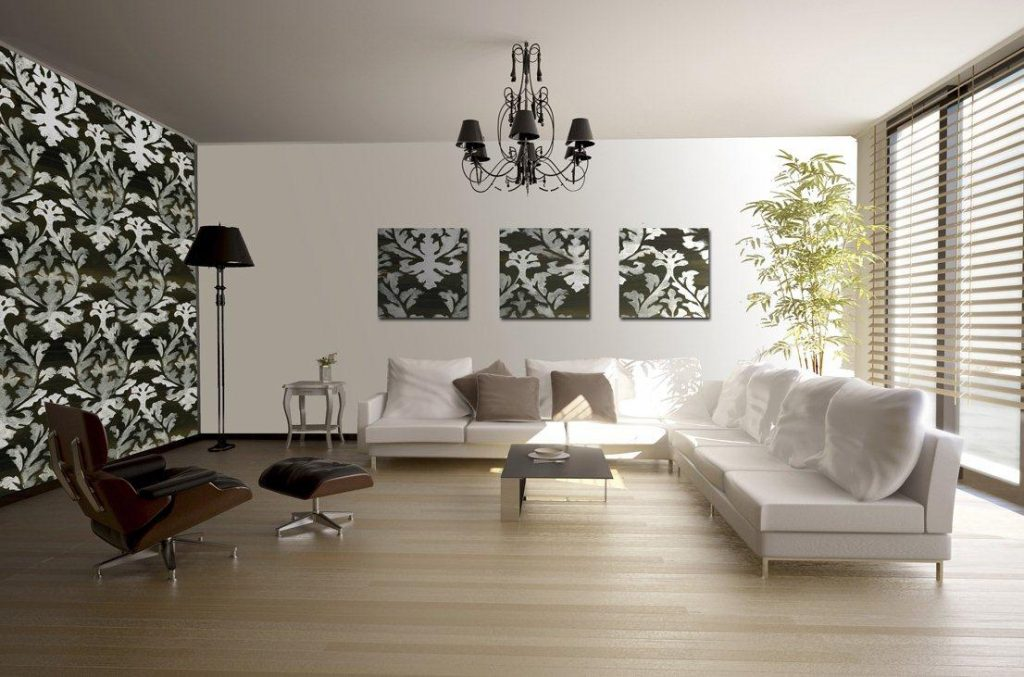 Black-And-White-Floral-Wallpaper-Living-Room-Feature-Wall-PIC-MCH047122-1024x677 Living Room Interior Wallpaper 25+