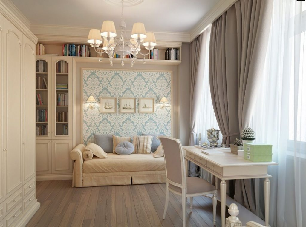 Blue-wallpaper-Taupe-Brown-curtains-bedroom-PIC-MCH048401-1024x761 Wallpaper Furniture Design 21+