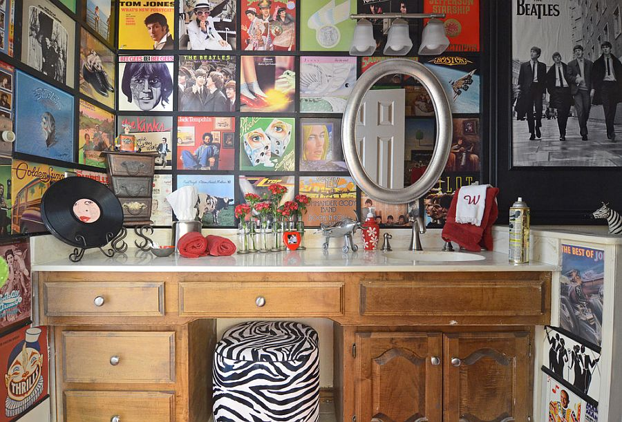 Old-album-covers-turned-into-a-captivating-custom-wallpaper-inside-the-small-bathroom-PIC-MCH092081 Wallpaper Furniture Decoupage 10+