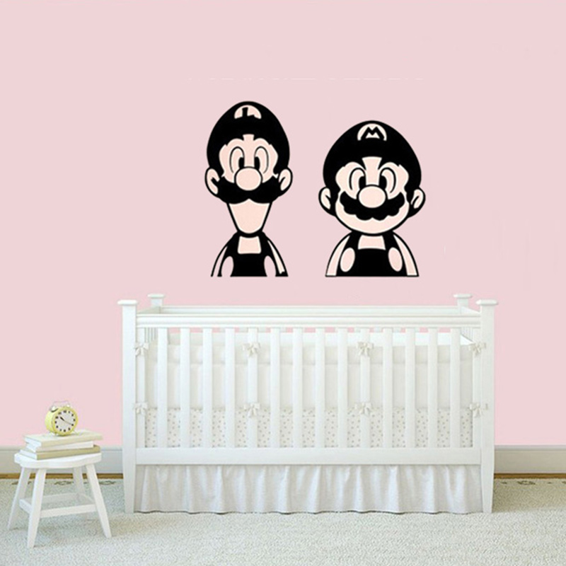 Super-Mario-and-Luigi-wall-stickers-mural-for-kids-Vinyl-Wall-Decal-Sticker-Super-Mario-PIC-MCH0104918 Mario And Luigi Bedroom Wallpaper 22+