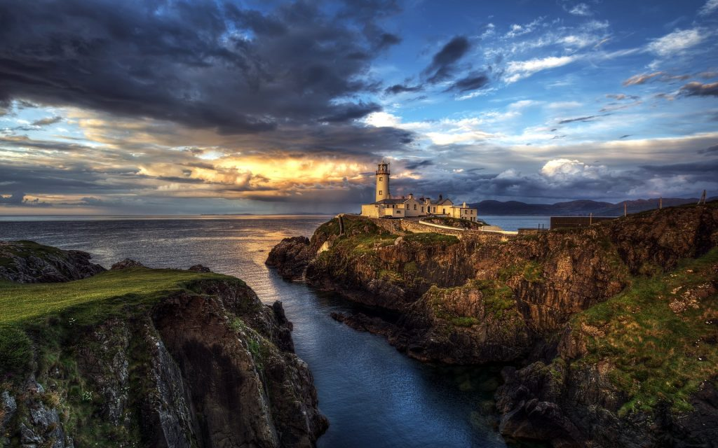 ireland-lighthouse-ocean-seascape-sunset-clouds-P-wallpaper-PIC-MCH077434-1024x640 Lighthouse Seascape Wallpapers 15+