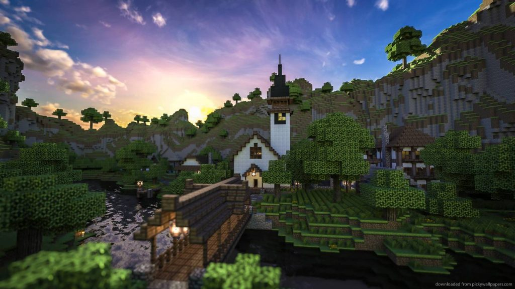 minecraft-home-at-sundown-PIC-MCH086419-1024x576 Minecraft Hd Wallpapers 1366x768 29+
