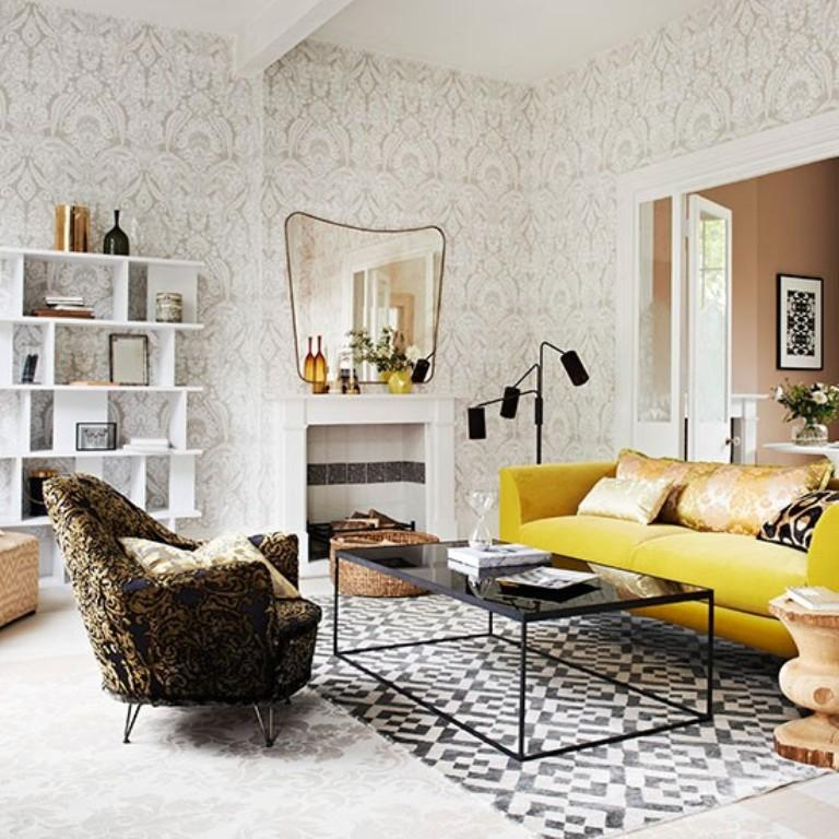 scandinavian-living-room-with-damask-wallpaper-PIC-MCH0100459 Living Room Interior Wallpaper 25+