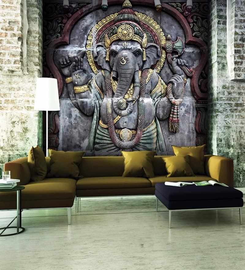 wallskin-grey-non-woven-paper-ganesha-god-of-wisdom-wallpaper-wallskin-grey-non-woven-paper-ganesha-PIC-MCH0115318 Non Woven Wallpaper India 15+